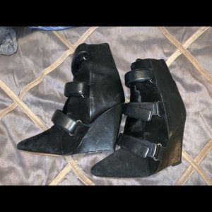 ISABEL MARANT Calfskin Suede Leather Wedge Bootie